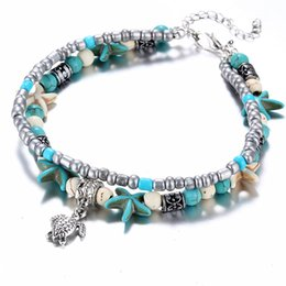 Discount sandals shells - Vintage Shell Beads Starfish Anklets For Women New Multi Layer Turtle Anklet Leg Bracelet Handmade Bohemian Jewelry Sand