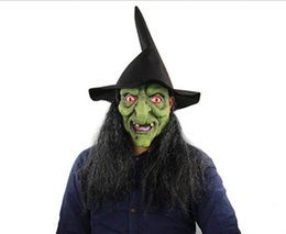 mask dress up NZ - Halloween Horror Witch Green Head Gray Hair Mask Haunted House Room Escape Dress Up Live Whole Man Head Cover Wholesale Free Shipping