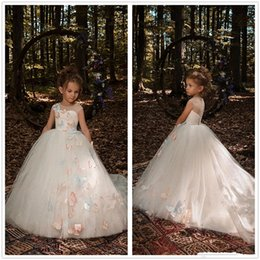 Gowns For Flower Girls NZ - 2018 Flower Girls Dresses For Wedding Jewel Neck Cap Sleeves Colorful 3D Butterfly Long Tulle Ball Gown Princess Party Girls Pageant Dresses