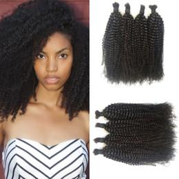 18 inch human hair for 2019 - Hair Bulk Mongolian Human Hair 4a 4b 4c Kinky Curly Bulk for Black Women Natural Color 4-28inch G-EASY cheap 18 inch hum