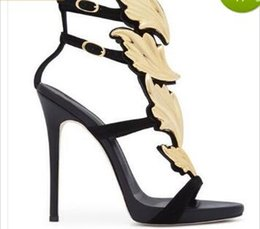Golden Pink Shoes NZ - Hot Sale Golden Metal Wings Leaf Strappy Dress Sandal Silver Gold Red Gladiator High Heels Shoes Women Metallic Winged Sandals