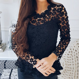 79742186dfc2e9 Floral Crochet Sexy Blouses Spring 2019 Ladies Cut Out Lace Shirts Women  Long Sleeve Lace Blusas Summer Peplum Tops S-2XL GV469