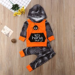 $enCountryForm.capitalKeyWord Australia - New Halloween Clothes Set Kid Baby Boys Spider Cotton Hooded Tops Hoodies Long Pant Legging Toddler Outfit Chidlren Clothes Set