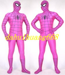Spiderman Party Suit Australia - Rose Red Lycra Spandex Spiderman Hero Suit Catsuit Costumes Unisex Spider-Man Cosplay Costumes Outfit Halloween Party Cosplay Costumes DH285