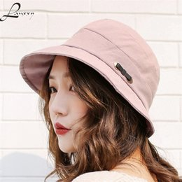 brims hats 2019 - Lanxxy New Cotton Women Bucket Hats Solid Panama Summer Fishing Hat Female Caps cheap brims hats