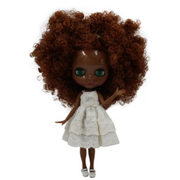 $enCountryForm.capitalKeyWord UK - blythe doll ICY Nude Blyth doll No.280BLQE965 Brown Curly hair JOINT body Super Black skin BJD Neo 30cm
