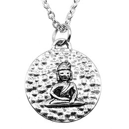 Necklaces Pendants Australia - WYSIWYG 5 Pieces Metal Chain Necklaces Pendants Hand Made Necklace Men Round Double-Sided Sitting Buddha 22x20mm N2-B13683