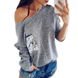 096970289 Casual Sexy Women Knit Sweater Off Shoulder Top Fashion Sequined Pocket  Pullover Knitted Plus Size Winter Autumn Shirts GV072