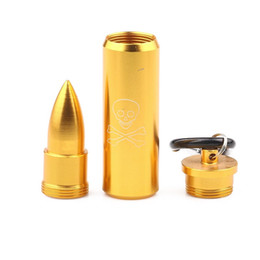 keychain bullet Canada - Metal Bullet Pendant Tablet Pill Box Holder Advantageous Container Storage Medicine Case With Keychain Waterproof Stash Case Tube