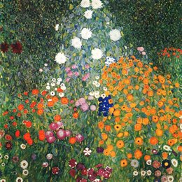 $enCountryForm.capitalKeyWord NZ - Framed Handpainted Classical Abstract Art Oil Painting Gustav Klimt - Flower Garden On Canvas.High Quality wall Art Home Decor l76