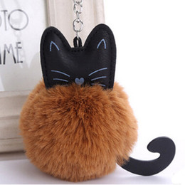 Wholesale 8 CM Colors Fluffy Mini Cat Key chain Faux Rabbit Fur Ball Bag Kitten Fur Ball Key Ring Plush Keychain PU Animal Pendant Pompon Key Chain