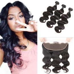 34 inches hair Australia - Brazilian Body Wave Hair Bundles With Lace Closure Top Remy Extensions 3 Bundles With 13X4 Lace Frontal Ear to Ear