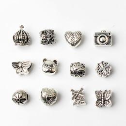 12PCS Estilo Misto de Atacado Esferas de Encantos De Pandora DIY Jóias Europeia, Braceletes, Pulseira de Mulheres Meninas Melhores Presentes