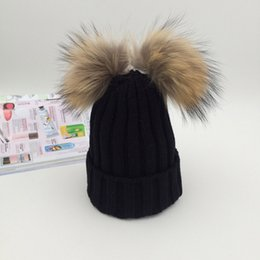 ae85190956c Black Pom Beanie Wholesale Australia - Fall Winter Hat Cute Kids Knit Beanie  Baby Hat for