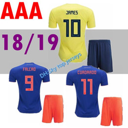 0403a4913 2018 World Cup Colombia soccer Jersey Adult Kits Colombia home yellow  FALCAO JAMES CUADRADO Soccer uniform Football Shirts Full Sets