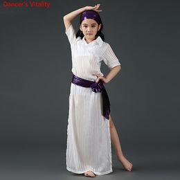 $enCountryForm.capitalKeyWord NZ - Children Girls Belly Indian Oriental Dance Sexy Split Short Sleeves Dress Headband Belt Suit Competition Costume Rumba Dancewear Outfits