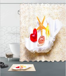 Chinese  Shell 3D pattern Print Custom Waterproof Bathroom Modern Shower Curtain Polyester Fabric Bathroom Curtain Door mat sets manufacturers