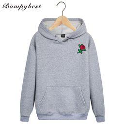 Rose pRinted sweatshiRt online shopping - Bumpybeast autumn winter Hoodies Men s Sweatshirts Rose flower Embroidery cloth print Sweatshirts size S XL dropshipping