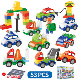 Train blocks online shopping - 53pcs set Cars Building Blocks rode plate digital train car kids toys bricks Educational Intelligence Safe Party Favor AAA1273