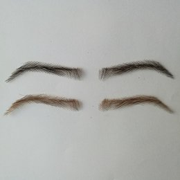 Hand Made Human Hair Man False Eyebrow Black Color Hand Knot Fake Eyebrow Invisible Swiss Lace Hand Eyebrows Comfortable Feel Eyebrow Enhancers