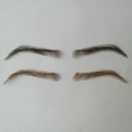 Chinese  06 hand made human hair man false eyebrow invisible handmade fake eyebrows hand knot fake eyebrow manufacturers