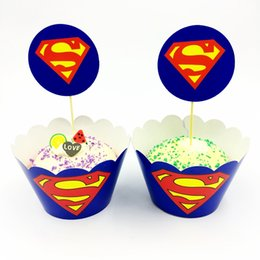 120pcs Lot Superman Superhero Cupcake Wrappers Topper Kids Birthday Party Decoration Cases 60pcs Wraps Toppers