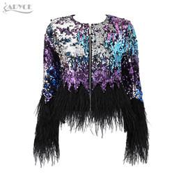 $enCountryForm.capitalKeyWord UK - ADYCE 2017 New Fashion Luxury Runway Jackets Elegant Women Coats Black Feathers Sequins Long Sleeve Celebrity Lady basic Coat