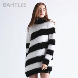ccc603cbb274 BAHTLEE 2018 Autumn winter women's wool angora rabbit turtleneck pullovers  sweater O-NECK fashion brand keep warm looser