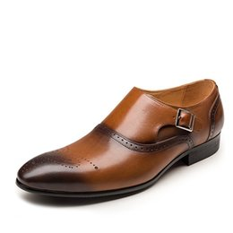 Discount brown casual dress shoes for men - Brand Men Dress Shoes Pointed Toe Buckles Men Business Weding Casual Shoes Black PU Leather Oxford For Male Plus Size39-