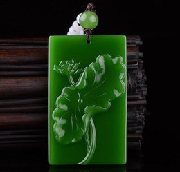 green jade carvings Canada - Natural Xinjiang Hetian jade jade carved lotus brand pendant Spinach green men and women lotus pendant