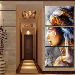 Multi Panel Canvas Prints Australia - Canvas Painting 3 Panel Native American Indian Girl Feathered Picture Wall Art Home Decor For Living Room Modern Printing Type
