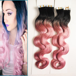 tape hair extensions body wave 2018 - Brazilian Body Wave Hair Remy Tape in Hair Extensions Ombre Color #1B Fading to Pink Highlight Human Tape Hair 80Pcs Per