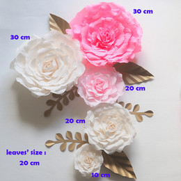 flower paper handmade for wedding NZ - Crepe Giant Paper Flowers Backdrop Artificial Handmade Crepe Paper Rose 5PCS+Gold Leaves 6PCS For Wedding & Party Deco Home Decoration