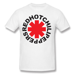 Wholesale rock band s resale online - Fashion Male Cotton Rock Band Red Hot Chili Peppers Tee Shirt Male Round Collar Black Short Sleeve Tee Shirts S XL Casual Tee Shirt