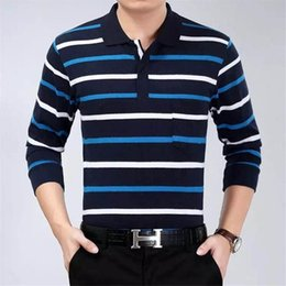 business casual long sleeve polo 2019 - Men Polo Shirt 2017 Summer autumn Men Business Casual Breathable Striped Long sleeves Polo Shirt Pure Cotton Work Clothe