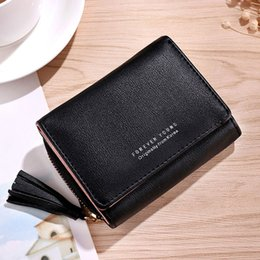 Discount designs pendants gold for girls - Women Small Clutch Wallets Tassel Pendant Design Coin Purses Card Holders For Teenage Girls Pocket PU Leather Female Lad