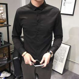 $enCountryForm.capitalKeyWord Australia - High Quality Men Dress Shirts Brand New Slim Fit Long Sleeve Tuxedo Male Shirt Embroidery Casual Business Men's Clothing 3XL-M