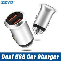 $enCountryForm.capitalKeyWord Australia - ZZYD Universal Metal Dual USB Port Car charger 5V 2.4A Adaptor For iP 8 X Samsung S8 Tablet Any phone