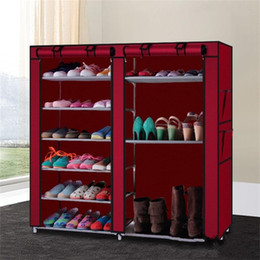 ShoeS cabinetS online shopping - Creative Double Rows Shoe Cabinet Lattices Combination Style Shoes Storage Holder Non Woven Fabric Anti Dust Boots Rack Practical ay BB