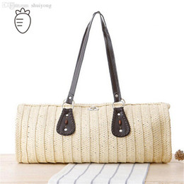 $enCountryForm.capitalKeyWord Canada - Wholesale-beach bag large big women handbags 2015 new arrival straw bags solid women sand sea shoulder bags leather tote high quality bag
