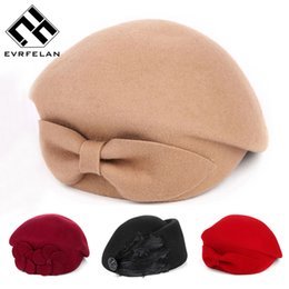 french hats for women 2019 - 2016 New Fashion Brand Winter Beret Hat For Women Beret Hat Female Beanie Cap Flower French Trilby Wool Soft Stewardess