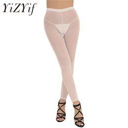 af3ec43362303d Sheer White Leggings UK - 2018 Sexy Women Soft Slim Cut Breathable Lingerie  See-through