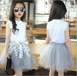 girls white lace blouses Canada - Kids Baby Girl Princess Dress Summer Clothing White Blouse+Lace Skirt Pary Wedding Birthday Dress