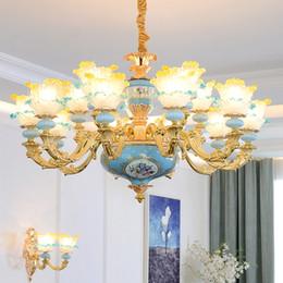 French Art Deco Lamp Australia - Romantic Pendant lamp Blue K9 Crystal Chandelier lighting Lustre Murano Glass Chandelier Lustres LED Chandeliers French Bedroom Hanging Lamp