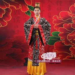 Chinese Robe Men NZ - Black red Men costume Chinese traditional clothes novelty hanfu cotton clothing emperor prince show cosplay suit robe Gown