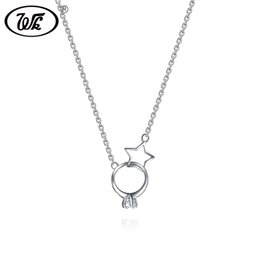 $enCountryForm.capitalKeyWord Australia - WK NEW Trendy Geometric Circle Star Necklace Sterling Silver 925 Necklaces Pendants Women 18 Inch Collares Dropshipping EW NB056