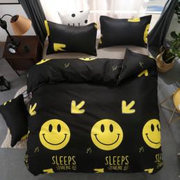 Black Emoji Smiling Face 3 4pcs Bedding Sets Bedclothes Bed Linen Bed Sheet  Duvet Cover Set Pillowcase 6