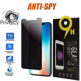 ingrosso privacy screen-Anti Spy Privacy Glass per iPhone Pro Max XR XS Plus Protezione schermo Privacy Vetro temperato per iPhone Plus XS Max Pro
