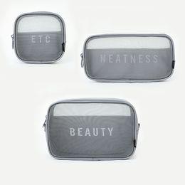 Door bag net online shopping - Travel Nylon Net Eye Storage Bags Luxury Pattern Shopping Mesh Bag Women Cosmetic Wash Makeup Classic Exquisite nm3 jj