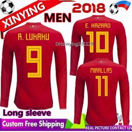 c62293e7b 2018 2019 world cup Belgium Long sleeve Soccer Jerseys 18 19 LUKAKU  FELLAINI E.HAZARD KOMPANY DE BRUYNE football uniforms shirt S - XXL